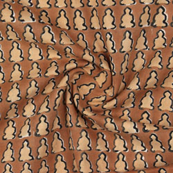 Brown Beige Block Print Cotton Fabric-16071