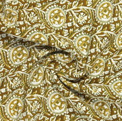 Brown Beige Block Print Rayon Fabric-16152