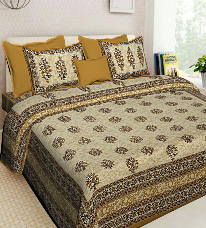 Brown Beige Cotton Jaipuri Bedsheet-599