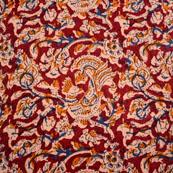 Brown-Beige and Blue Peacock Design Kalamkari-Screen Fabric-5492