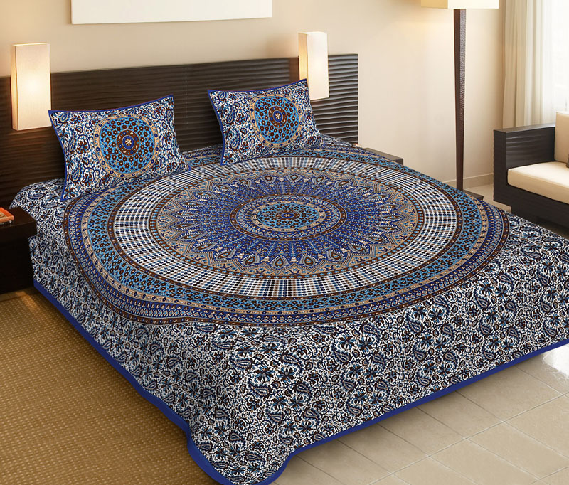 Brown Blue Cotton Jaipuri Bedsheet-544