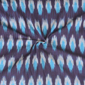 Brown Blue Ikat Cotton Fabric-12271