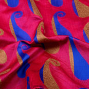 Brown-Blue and Pink Paisley Pattern Brocade Silk Fabric-5328