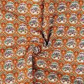 Brown-Cream and Yellow Cotton Kalamkari Fabric-10134