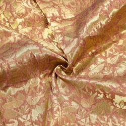 Brown Golden Warli Brocade Silk Fabric-12534