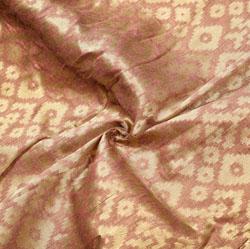 Brown Golden Zig-Zag Brocade Silk Fabric-12552