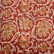 Brown-Green and Beige Flower Shape Kalamkari-Screen Fabric-5485