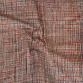 Brown Khadi Block Print Cotton Fabric-14798