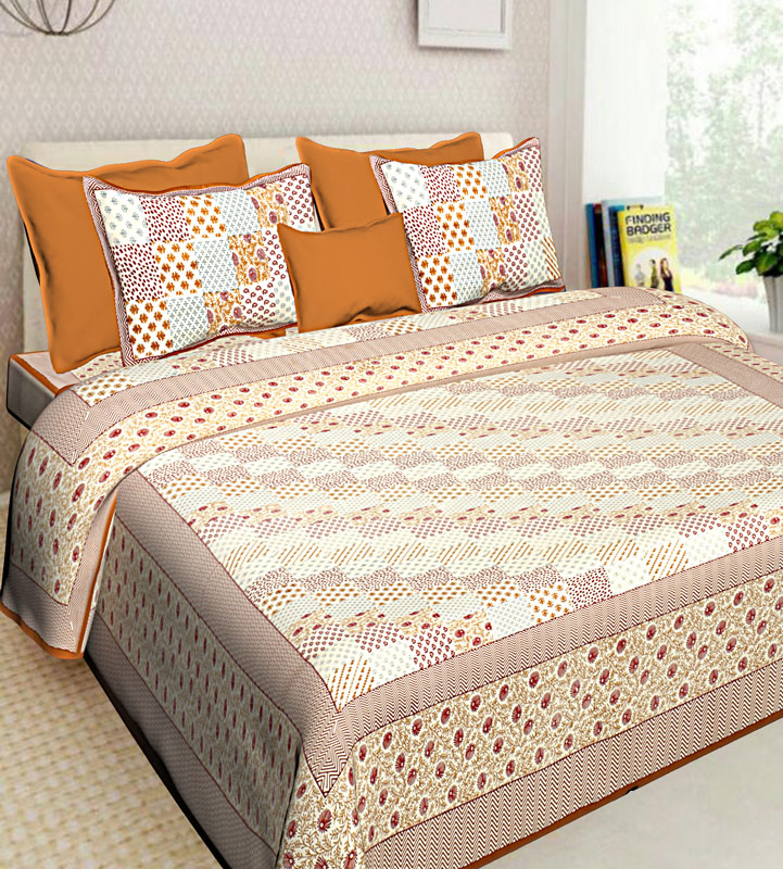 Brown Mustard Cotton Jaipuri Bedsheet-559