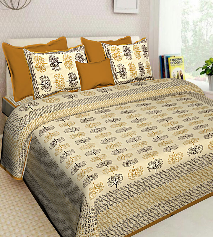 Brown Mustard Cotton Jaipuri Bedsheet-580
