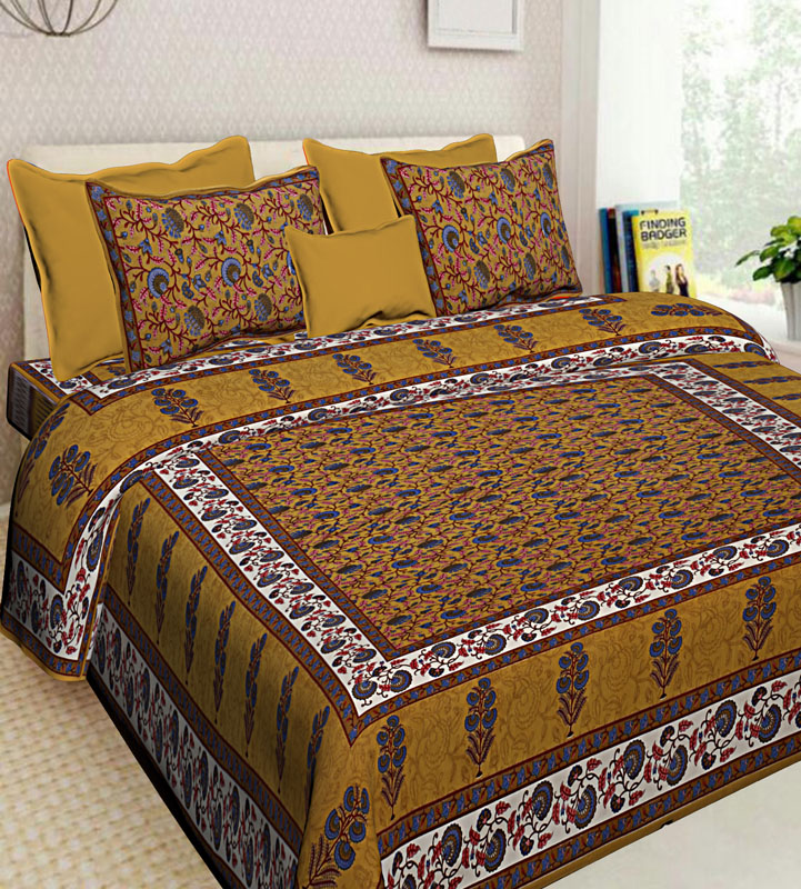Brown Mustard Cotton Jaipuri Bedsheet-592