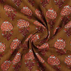 Brown Orange Block Print Cotton Fabric-16044