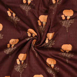Brown Orange Floral Rayon Fabric-16243
