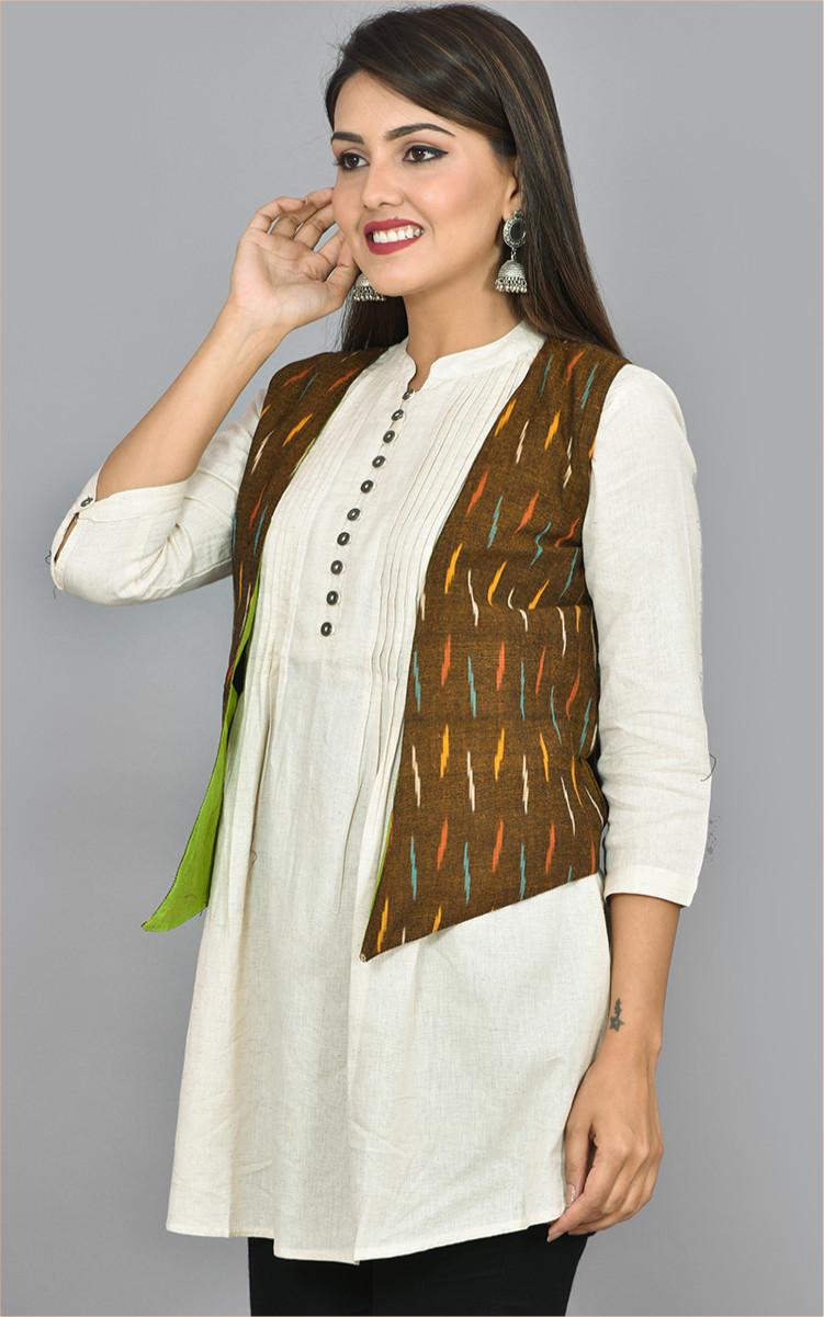 Brown Orange and Cyan Ikat Cotton Koti Jacket-36263