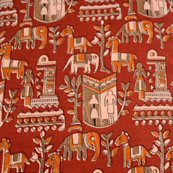 Brown-Orange and Maroon Forest Pattern Kalamkari-Screen Fabric-5495