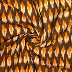 Brown Orange and White Ikat Cotton Fabric-11001