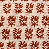 Brown-Orange and White Plant Pattern Block Print Fabric-RL4317