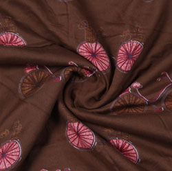 Brown Pink Block Print Rayon Fabric-16198