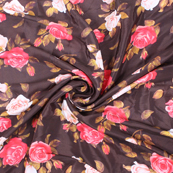 Brown-Pink and White Flower Silk Crepe Fabric-18123