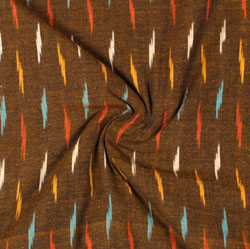 Brown Pink and Yellow Ikat Cotton Fabric-11024