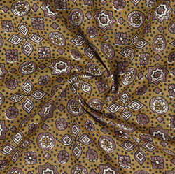 Brown Purple Ajrakh Cotton Fabric-16001