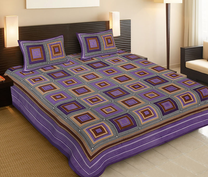 Brown Purple Cotton Jaipuri Bedsheet-507