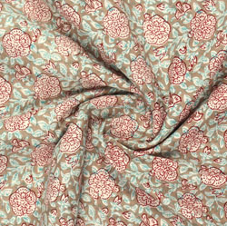 Brown Red Block Print Cotton Fabric-16081
