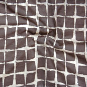 Brown White Block Print Cotton Fabric-14790