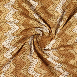 Brown White Block Print Cotton Fabric-16033