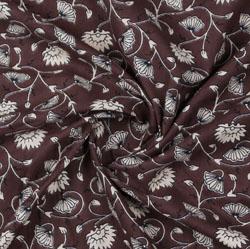 Brown White Block Print Cotton Fabric-16109