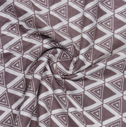 Brown White Block Print Cotton Fabric-16118