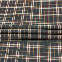 Brown White Check Wool Fabric-90119