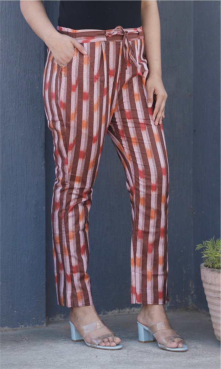 Brown White Cotton Stripe Ankle Women Pant-34471