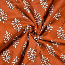 Brown White Floral Block Print Cotton Fabric-28459