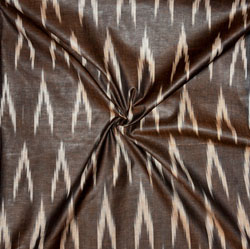 Brown White Ikat Cotton Fabric-11159