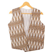 Brown White Sleeveless Ikat Cotton koti jacket-12297