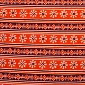 Brown-White and Orange Flower Pattern Block Print Fabric-RL4323