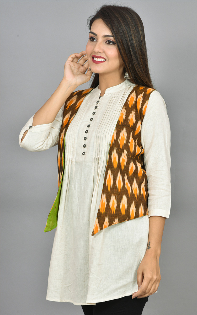 Brown White and Yellow Ikat Cotton Koti Jacket-36267