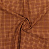 Brown Yellow Check Handloom Khadi Cotton Fabric-40611