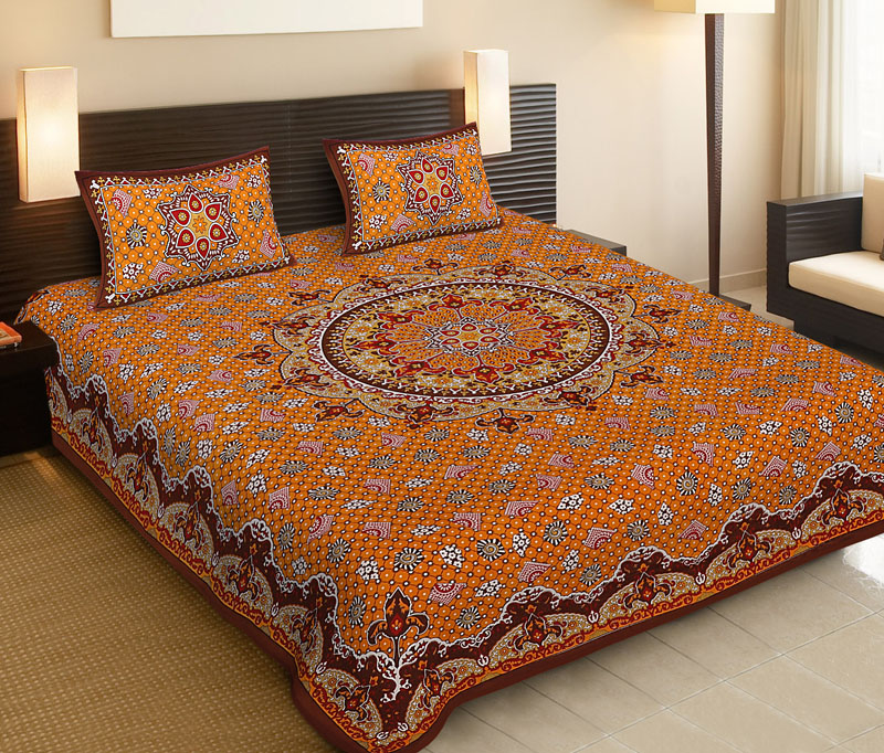 Brown Yellow Cotton Jaipuri Bedsheet-527