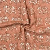 Brown and Silver Elephant Design Chanderi Silk Fabric-9001