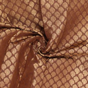 Brown and Golden Floral Brocade Silk Fabric-8901