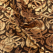 Brown and Golden flower shape Brocade Silk Fabric-5335
