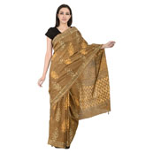Brown and White Floral Design Cotton Block Print Saree-20107