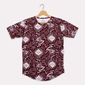 Burgundy White Cotton Harry Potter T-shirt-33356
