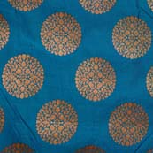 Cerulean blue and Golden Circular Flower Brocade Silk Fabric by the yard