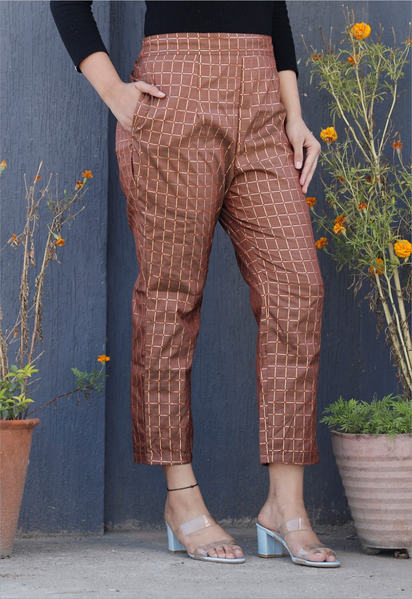 Coffee White Brocade Silk Ankle Women Check Pant-34320