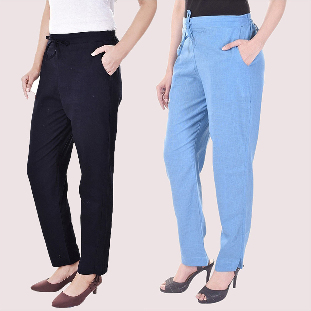 Combo of 2 Cotton Slub Solid Women Pant Black and Cyan-34415