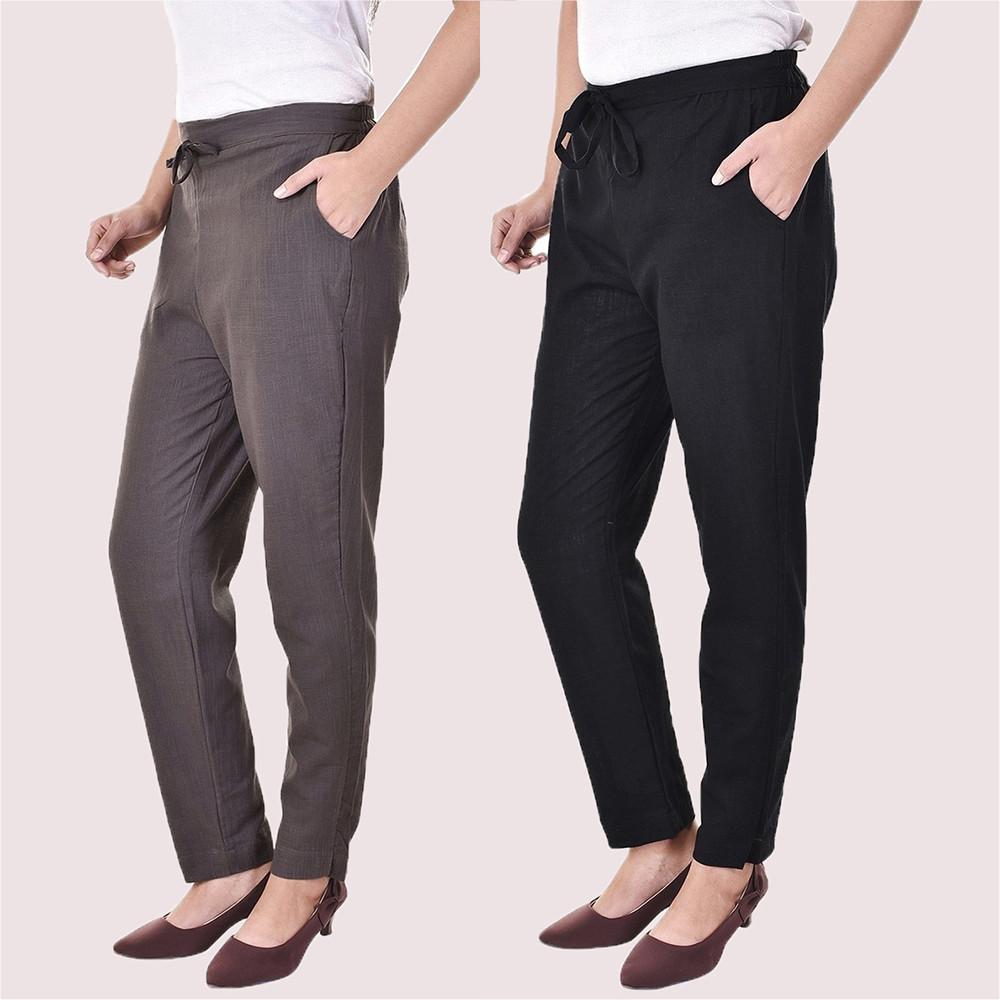 Combo of 2 Cotton Slub Solid Women Pant Gray and Black-34422