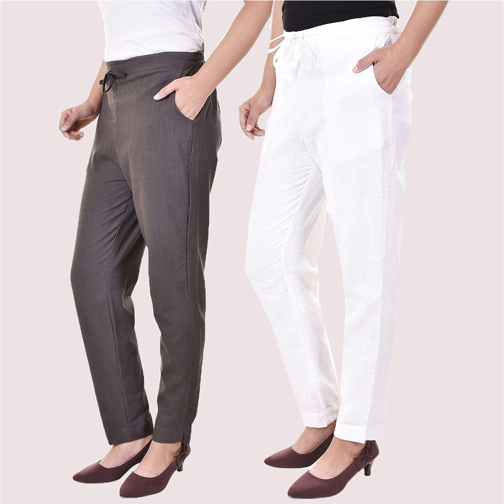 Combo of 2 Cotton Slub Solid Women Pant Gray and White-34428